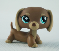 Mocha Tan Brown Dachshund Dog Green Eyes Girl toys Littlest Pet Shop LPS 1751 Kids Toys