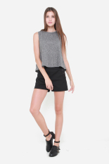 Great Deal Muselabel Grainy Spongy Neck Open Back Casual Women Sleeveless Top Grey