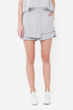 Low Price Muselabel Grainy Stripes Causal Everyday Edgy Women Fashion Shorts Grey