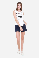 Lowest Price Muselabel Mono Abstract Block Women Edgy Sleeveless Top White