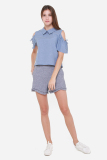 Muselabel Open Shoulder Collar Women Work Sweet Top Blue Muselabel Cheap On Singapore