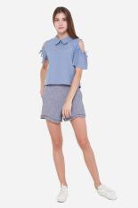Buy Muselabel Open Shoulder Collar Women Work Sweet Top Blue Muselabel Online