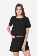 Great Deal Muselabel Square Textured Women Short Sleeves Top Black