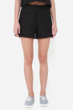 Cheap Muselabel Square Textured Causal Everyday Women Shorts Black