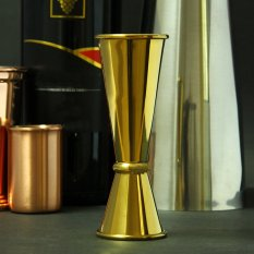 Promo Mushroom High End Japanese Style Gold Stainless Steel Jigger Bar Measuring Cup 1Oz 2Oz Jigger Oz Cup Gold Intl