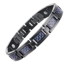 Retail New Health Care Energy Magnetic Titanium Bracelet For Men Blue Intl