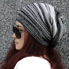 cb19f699b616a NEW Unisex Womens Mens Knit Baggy Beanie Hat Winter Warm Oversized Ski Cap  Black