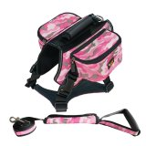 Great Deal Ondoing Dog Harness Leash Backpack Set For Hiking Athletic Dog Training Camouflage Pink Large