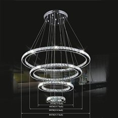 NEW Pendant Light Luxury Modern LED K9 Crystal Living 4 Rings (EXPORT)