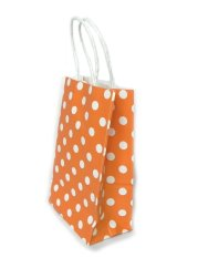 20Pcs X Polka Dot Colored Kraft Paper Bag Orange Best Price