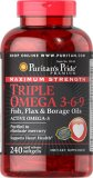 Compare Prices For Puritan S Pride Maximum Strength Triple Omega 3 6 9 Fish Flax Borage Oils 240 Softgels Item 010148