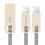 Where To Buy Rock R1 3 3Ft 1M 2 In 1Reversible Lighting Micro Combo Connector Data And Charger Cable Beige Intl