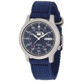 Buy Seiko 5 Snk807K2 Men S Blue Nylon Fabric Band Military Automatic Watch Cheap Singapore