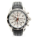 Buy Seiko Sportura Snaf35P1 Chronograph Stylish Sporty Leather Strap White Dial Watch On Singapore