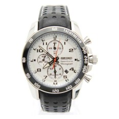 Review Seiko Sportura Snaf35P1 Chronograph Stylish Sporty Leather Strap White Dial Watch Singapore