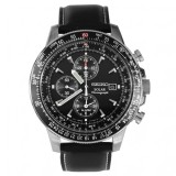 Seiko Prospex Sky Series Solar Powered Chronograph Mens Sports Watch Ssc009P3 With Black Leather Strap Black Cheap