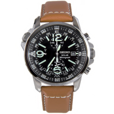 Seiko Solar Chronograph Men S Brown Leather Strap Watch Ssc081P1 On Line