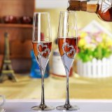 For Sale Silver Finish Metal Heart Shape Champagne Glass With Diamonds Champagne Flute For Weddings Party Martini Glass Export