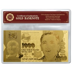 Singapore Dollar $1000 999 Fine Gold Foil Banknote With Plastic Sleeve