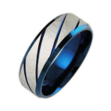 Review Stainless Steel Stripes Men S Band Rings Blue Oem