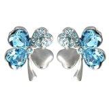 Cheap Sworld Crystal Lucky Four Leaf Clover Stud Earrings Light Blue Export