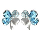 Best Rated Sworld Crystal Lucky Four Leaf Clover Stud Earrings Light Blue Export