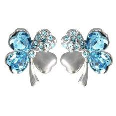 Latest Sworld Crystal Lucky Four Leaf Clover Stud Earrings Light Blue Export