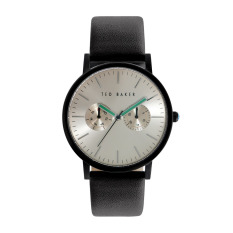 Best Deal Ted Baker 10024529 Silver Black Multifunction Leather Watch