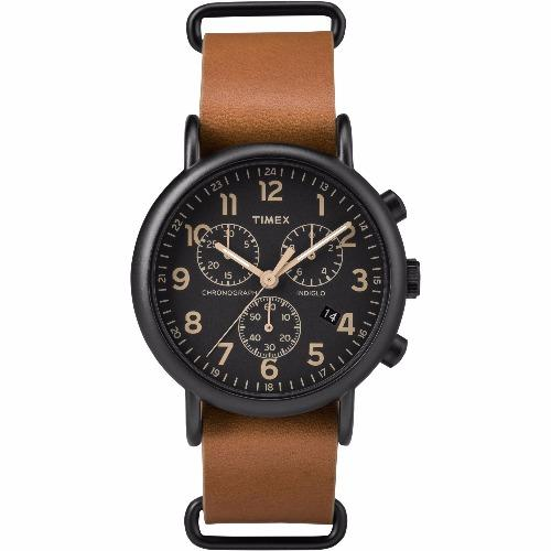 Compare Timex Weekender™ Chrono Oversized Brown Leather Strap Black Dial Tw2P97500 Prices