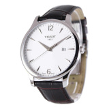 Price Tissot T Classic Tradition Men S Brown Leather Strap Watch T063 610 16 037 00 Tissot