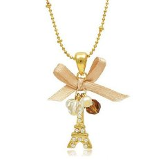 Compare Prices For Tower Pendant With Necklace Golden Plated Chain New Trend Jewelry Cheap