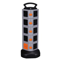 Tower Smart Electrical Socket with 5 Layer Gather-cord Suit for UK/US/EU/AU Plug (Black)