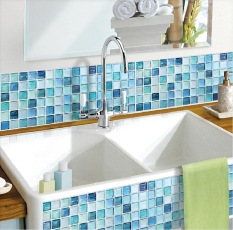 Sales Price Uni Design Beau Stile Mosaic 3D Wall Sticker Wallpaper N Blue Set Of 2 Intl