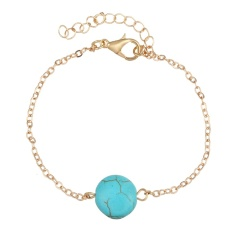Unique Charm 18 K Gold Plated Turquoise Pendant Chin Anklet (Gold)(Export)