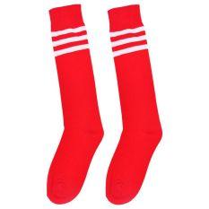 2e081b05f Unisex High Striped Over Knee Long Socks Stockings Stripe Tube Soccer  Football Red with white