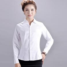 Women Business Work Long Sleeve Stripe Shirt Formal Ol Office Cotton White Review