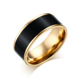 Women Gold Plated Ring Titanium Steel With Epoxy Rings For Women Fashion Jewelry Black Export Intl Lowest Price