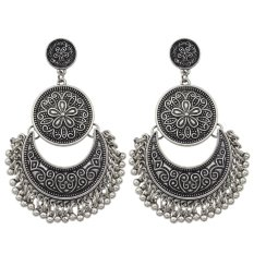 Lowest Price Women Jewelry Chandelier Earrings Antique Gold Silver Big Geometric Ethnic Statement Earrings Fashion Accessoriesi¼ˆancient Silveri¼‰ Export