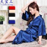 Price Women Kimono Robes Knee Length Silk Nightgown Satin Sleepwear Bathrobe Online China