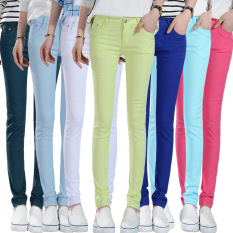 Who Sells Women Ladies Stretch Pencil Pants Casual Slim Fit Cotton Jean Skinny Bottoming Trouser Lake Blue The Cheapest