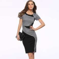 Women Plaid Dress Patchwork Zipper Slim Slim Package Hip Stretch Dress Bandage Pencil Dresses 2016 Summer Party Casual Dresses Lower Price