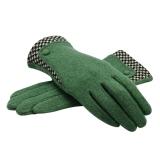 Cheaper Women S Winter Warm Cashmere Gloves With Stitching Plaid Cuff Intl