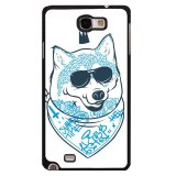 Low Cost Y M Blue Black Glasses Wolf Dog Phone Case For Samsung Galaxy Note 2 Multicolor