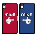 Brand New Y M Cell Phone Couple Case For Sony Xperia Z1 Blue And Red Mice Hands Pattern 2Pc Cover Multicolor