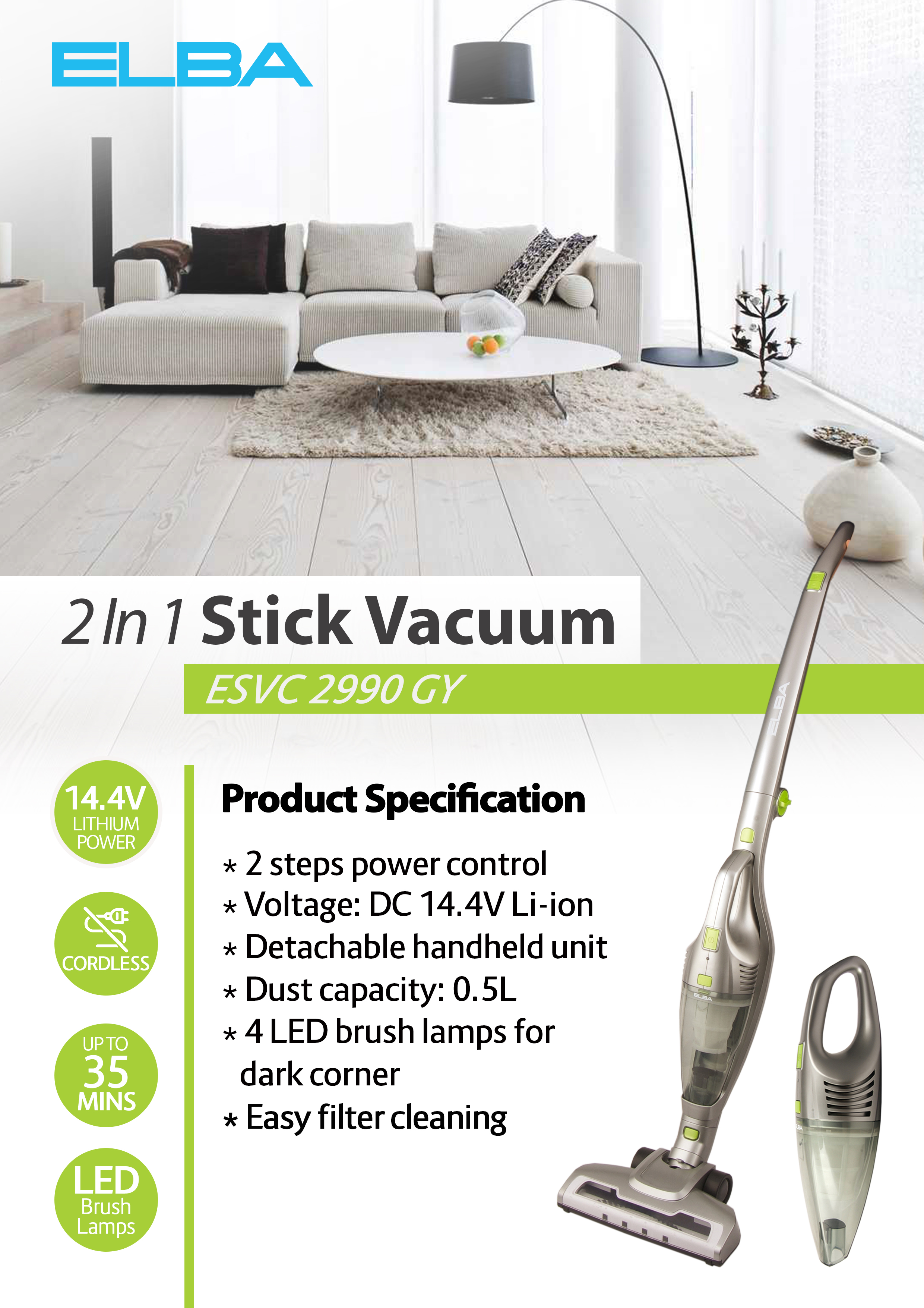 ELBA ESVC2990GY 2-In-1 Cordless Stick Vacuum Cleaner | Lazada ...