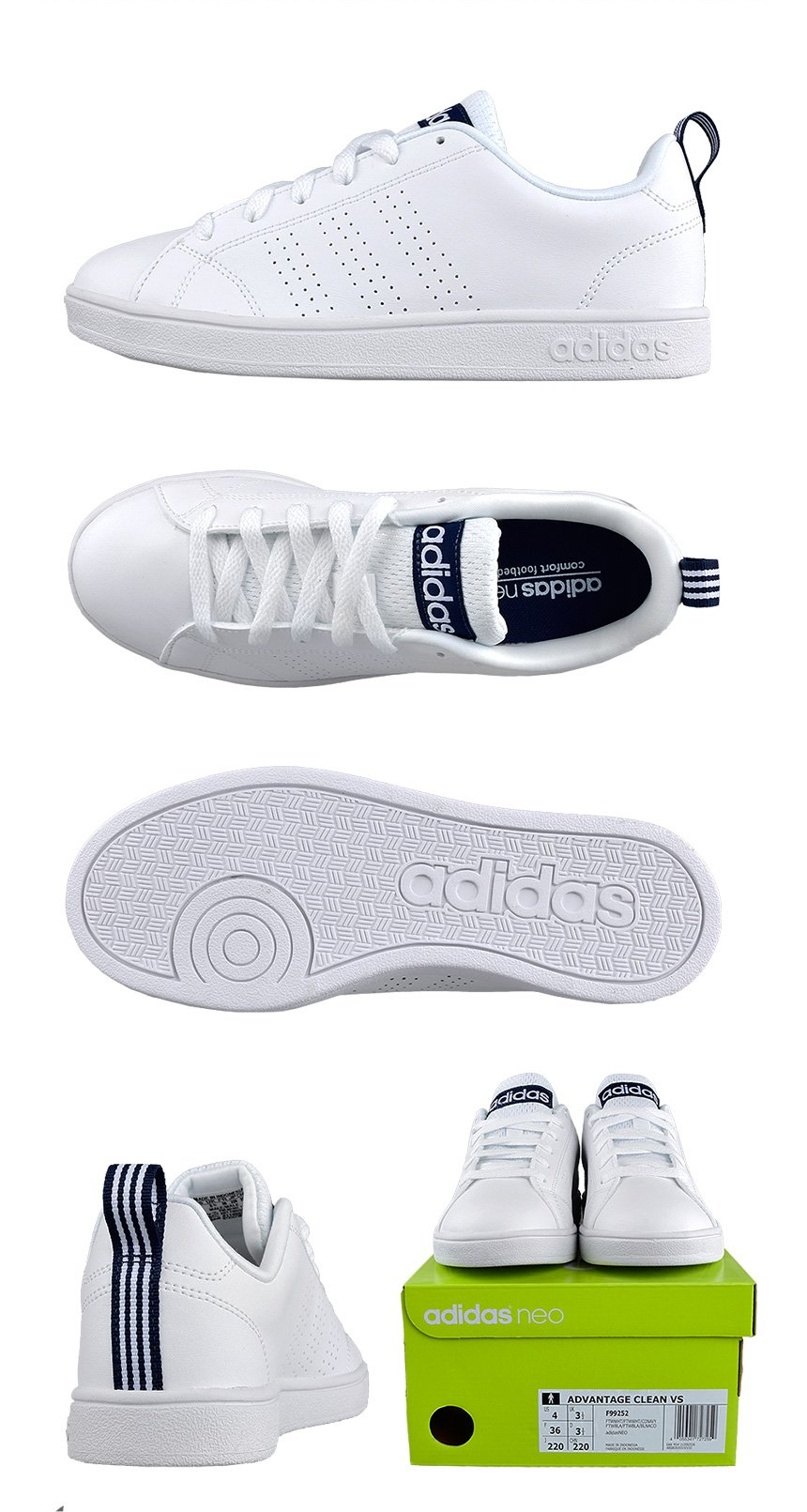 Adidas VS Advantage F99252 Zapatos NEO Casual Blanco/Blanco Hombre Zapatos F99252 intl e43bf1