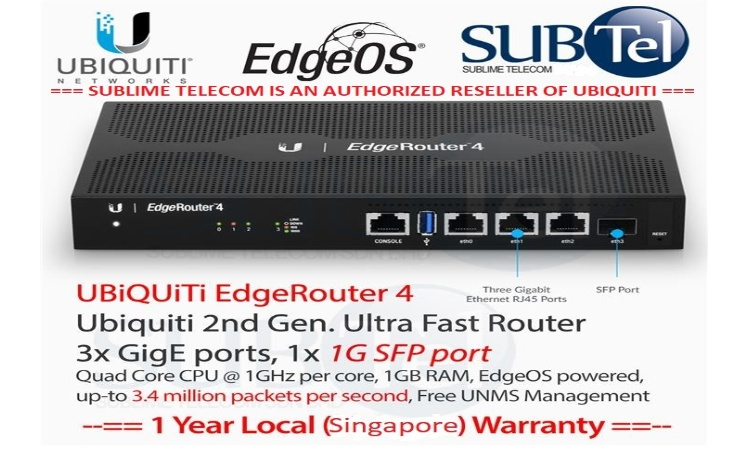 ER-4 Ubiquiti EdgeRouter 4 - With SFP EdgeMax Series UBNT Singapore