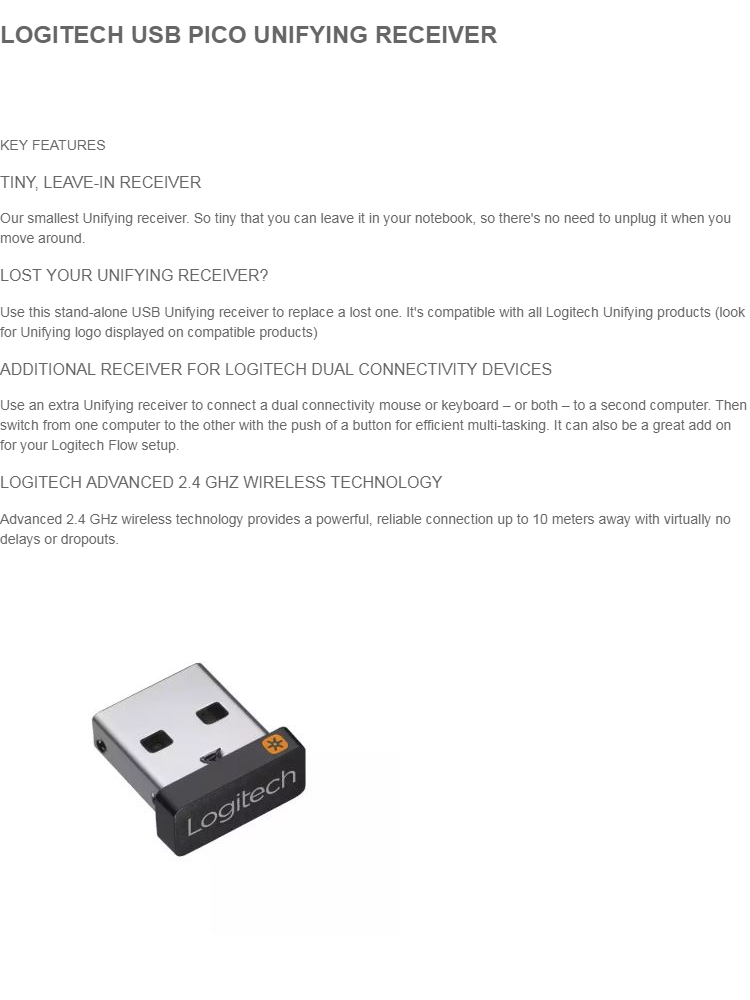 LOGITECH USB PICO UNIFYING RECEIVER
