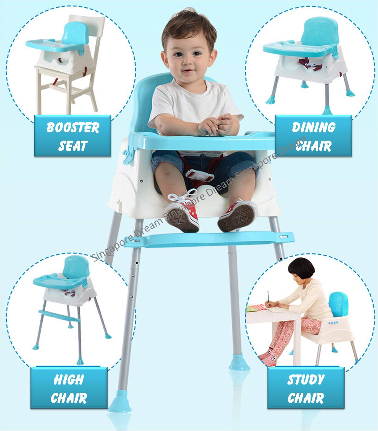 Harness Portable Baby Toddler Dining High Chair Feeding Booster Seat With Tray