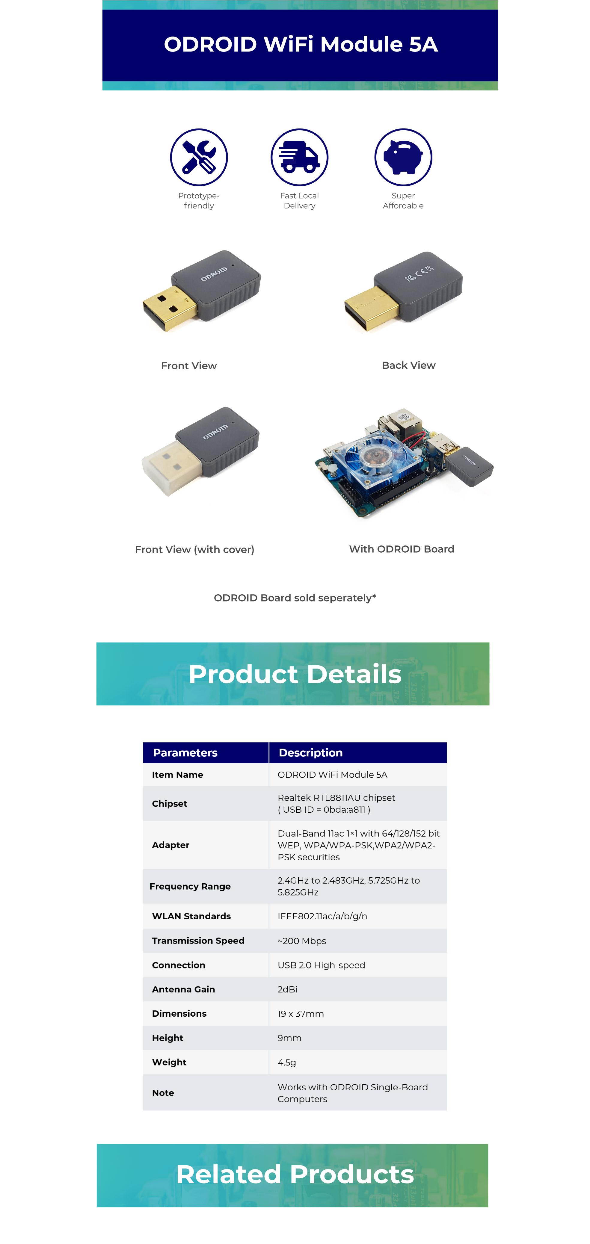 ODROID WiFi Module 5A USB [Wireless] ODROID-C0, ODROID-C1+, ODROID-C2,  ODROID-H2, ODROID-HC1, ODROID-HC2, ODROID-MC1, ODROID-N2, ODROID-XU4,